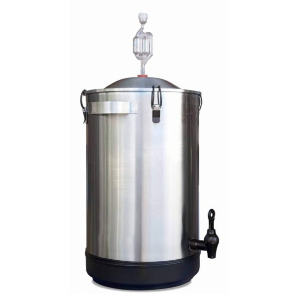 Gärbehälter aus Edelstahl - 25 Liter, mit Gärspund und Auslaufhahn