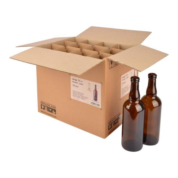 "Bierflasche ""Belge"" - 75 cl, braun, Korkmündung, Karton 12 Stück"