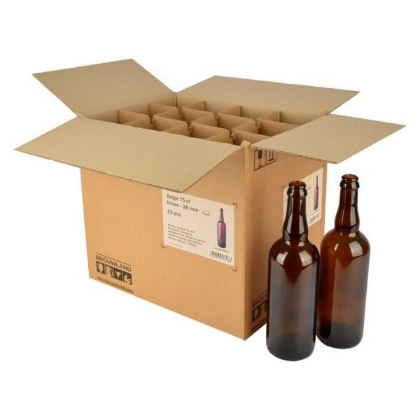 "Bierflasche ""Belge"" - 75 cl, braun, Kronenkorkenmündung, Karton 12 Stück"