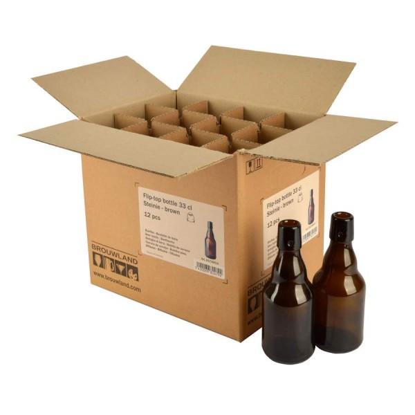 """Bügelflasche """"Steinie"""" - 33 cl, braun, ohne Verschluss, Karton 12 Stück"""