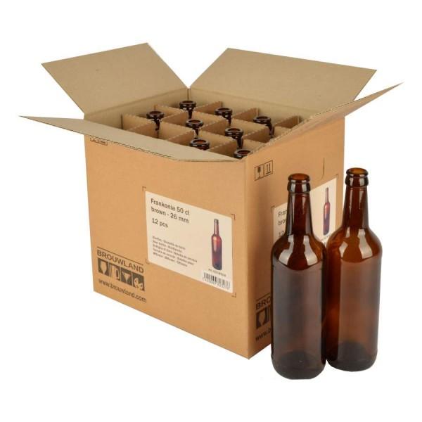 """Bierflasche """"Frankonia"""" - 50 cl, braun, 26 mm, Karton 12 Stück"""