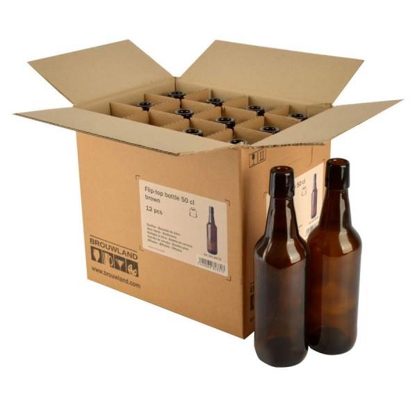 Bügelflasche - 50 cl, braun, ohne Verschluss, Karton 12 Stück