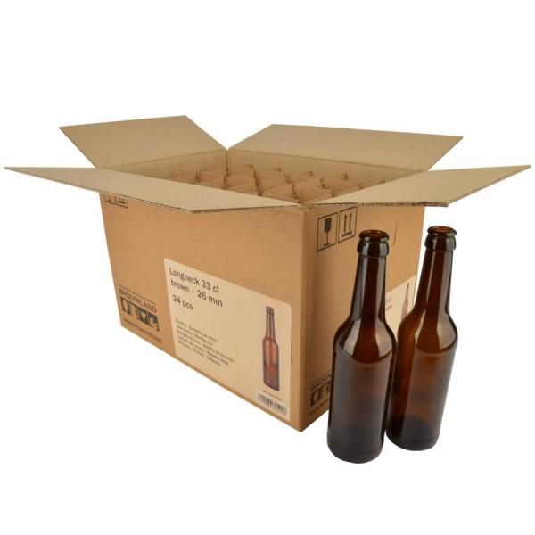 "Bierflasche ""Longneck"" - 33 cl, braun, 26 mm, Karton 24 Stück"
