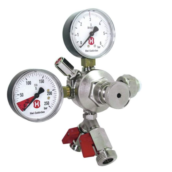 CO2-Druckregler - 3 bar, 2 Manometer